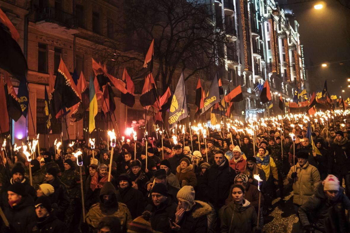 Banderovi příznivci v Kyjevě