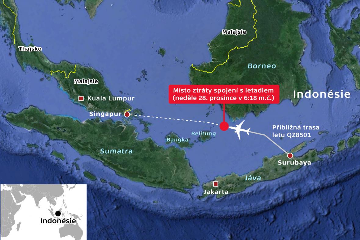 Místo pádu letu QZ8501