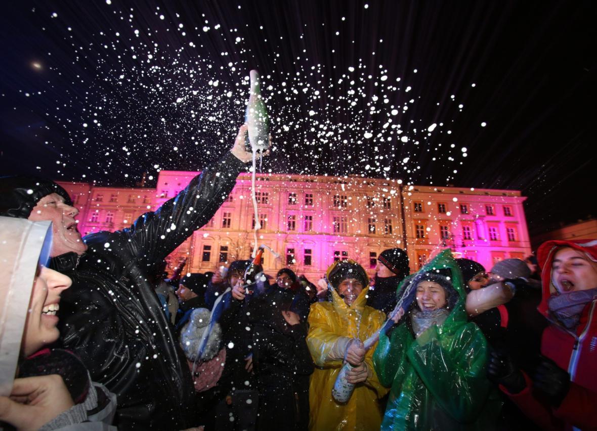 Oslavy konce starého a začátku nového roku v Krakově