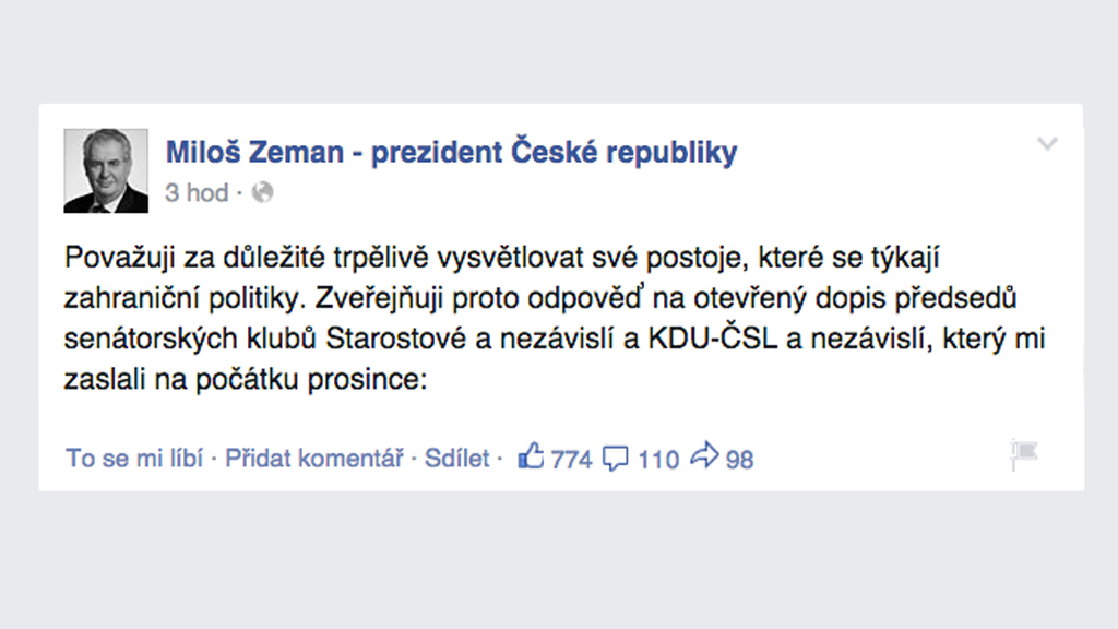 Facebook Miloše Zemana