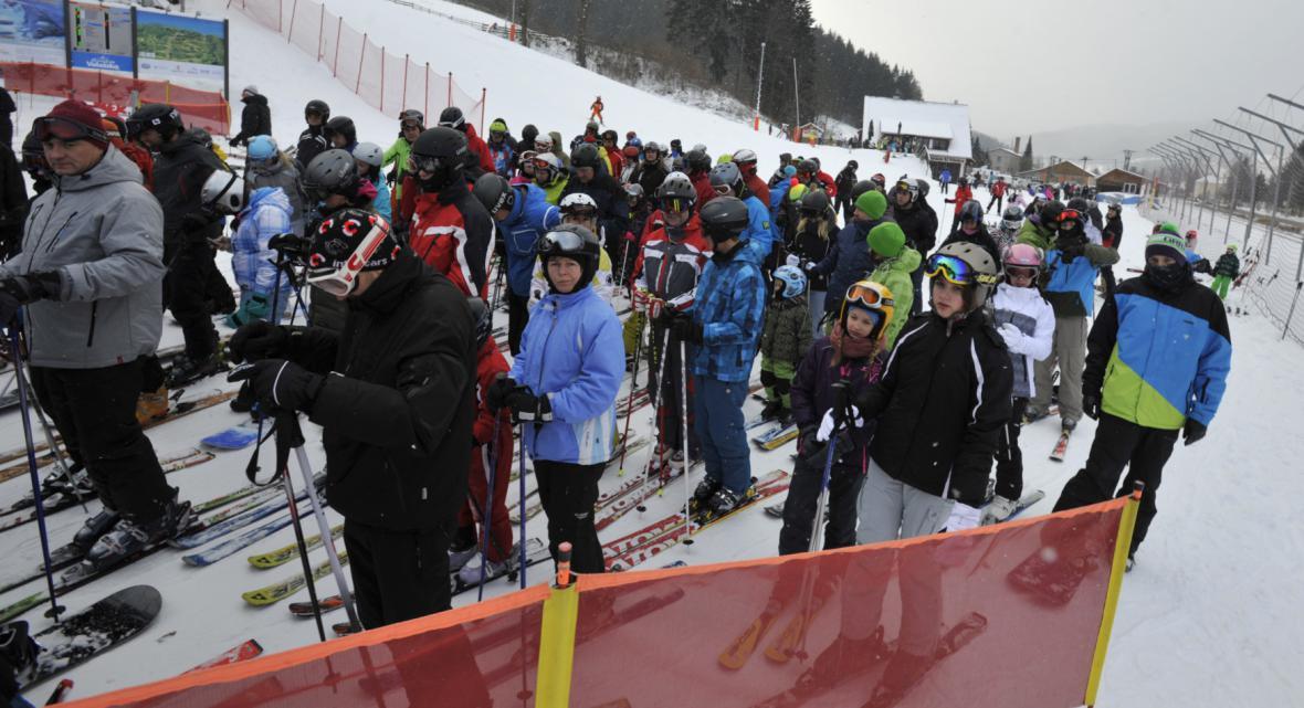 O lyžování je velký zájem