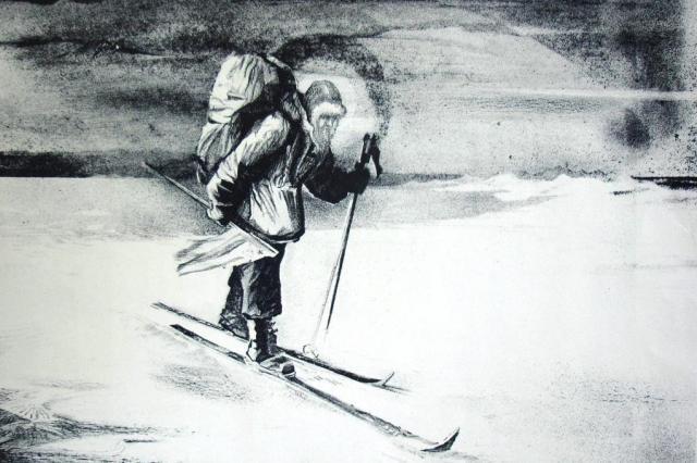 Kresba Fjodora Koňuchova z jeho polární výpravy (1984)
