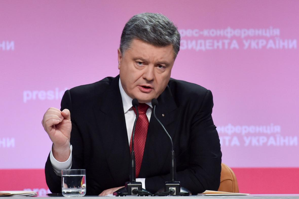 Petro Porošenko na výroční tiskové konferenci