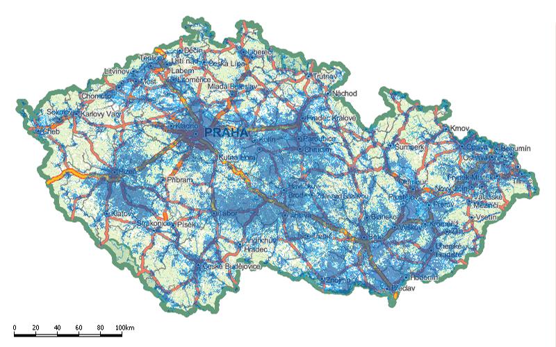 Mapa pokrytí mobilním signálem – O2