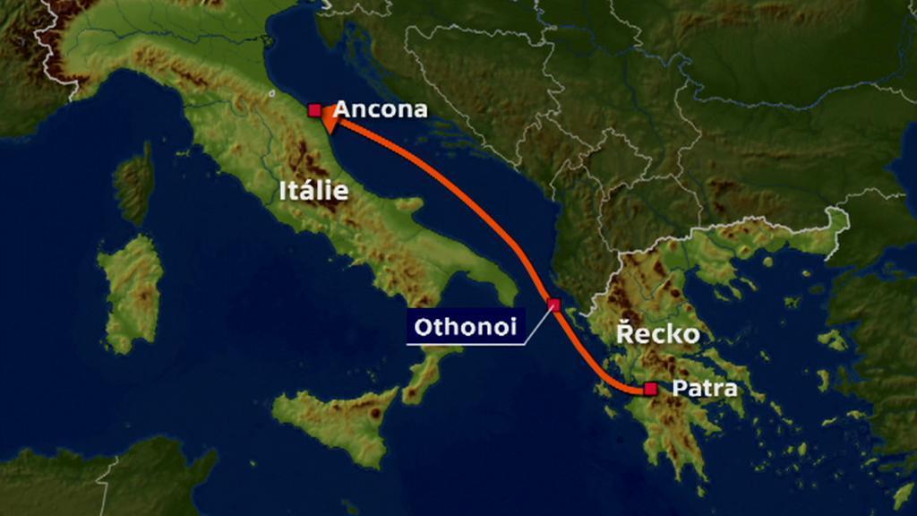 Trasa italského trajektu Norman Atlantic, který zachvátil požár
