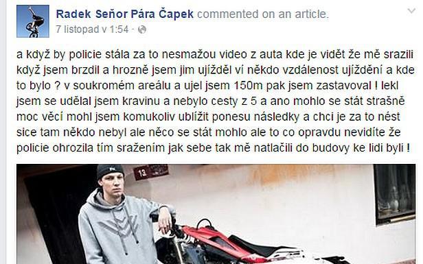 Facebook sraženého motorkáře