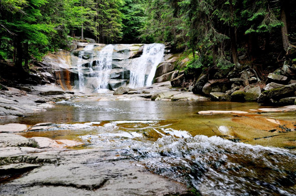 Krkonošský Mumlavský vodopád v Harrachově