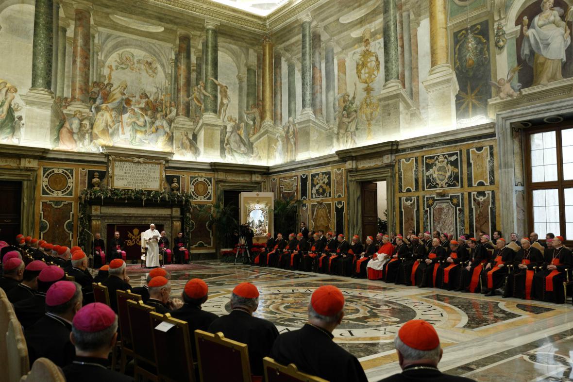 František při projevu k členům kurie
