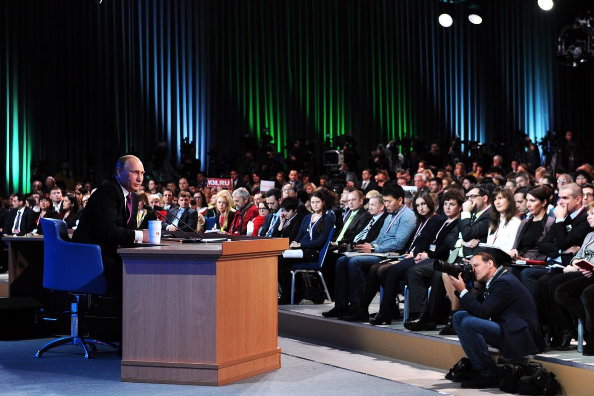 Vladimir Putin na výroční tiskovce