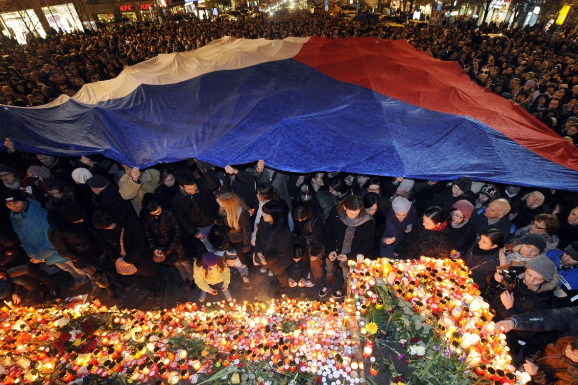 Pietní shromáždění za Václava Havla na Václavském náměstí