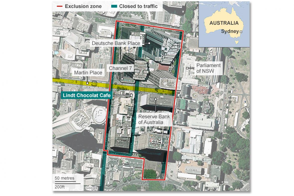 Mapa okolí přepadení kavárny v Sydney