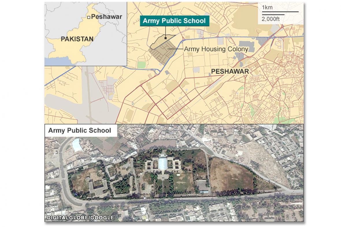 Mapa útoku v Péšávaru