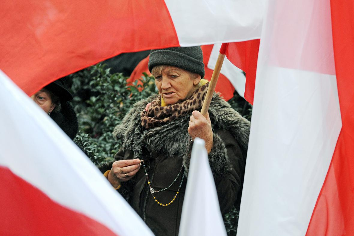 Demonstrace v centru Varšavy