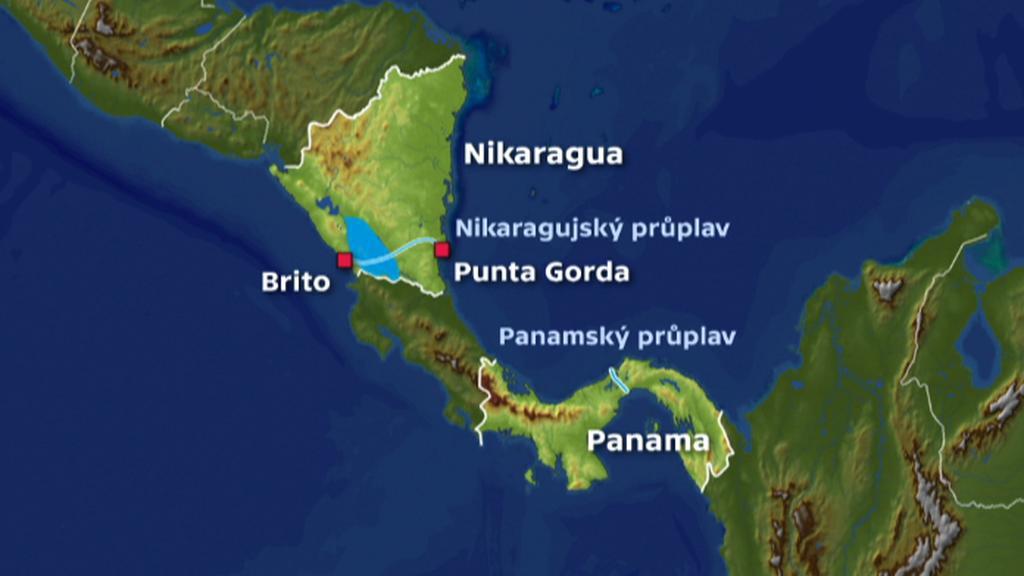 Mapa chystaného průplavu napříč Nikaraguou