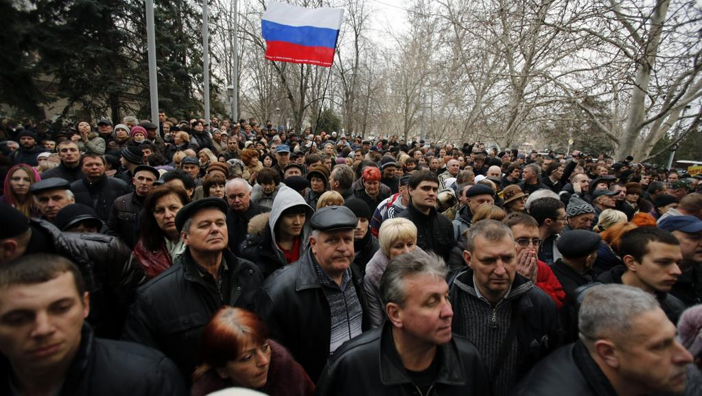 Demonstrace ruských obyvatel Krymu