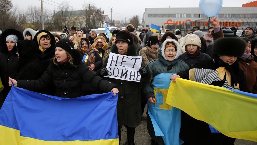 Protest krymských Tatarů v Simferopolu