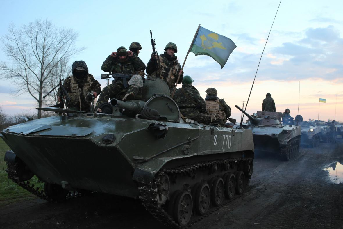 Ukrajinské tanky u Slavjansku