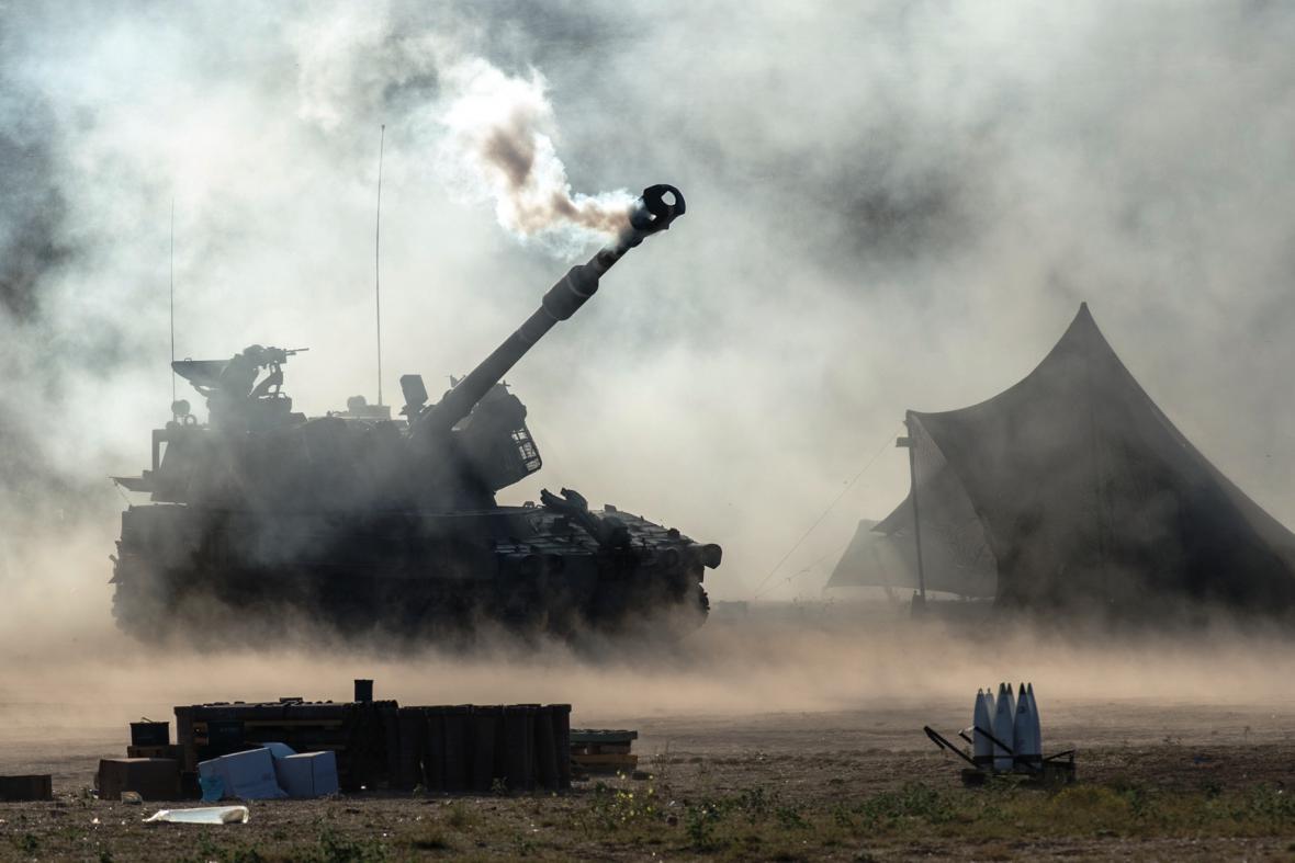 Izraelské síly na hranici Pásma Gazy