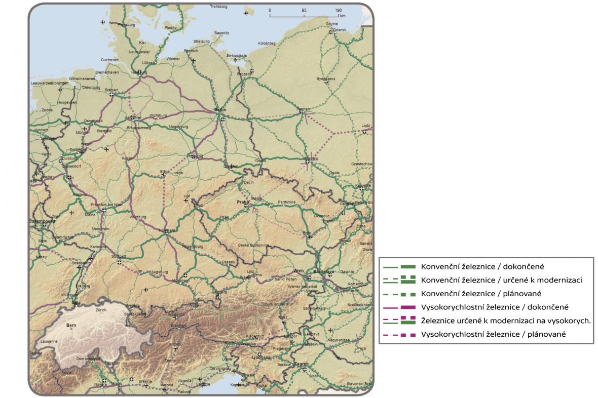 Hlavní síť: Železnice (osobní přeprava) a letiště