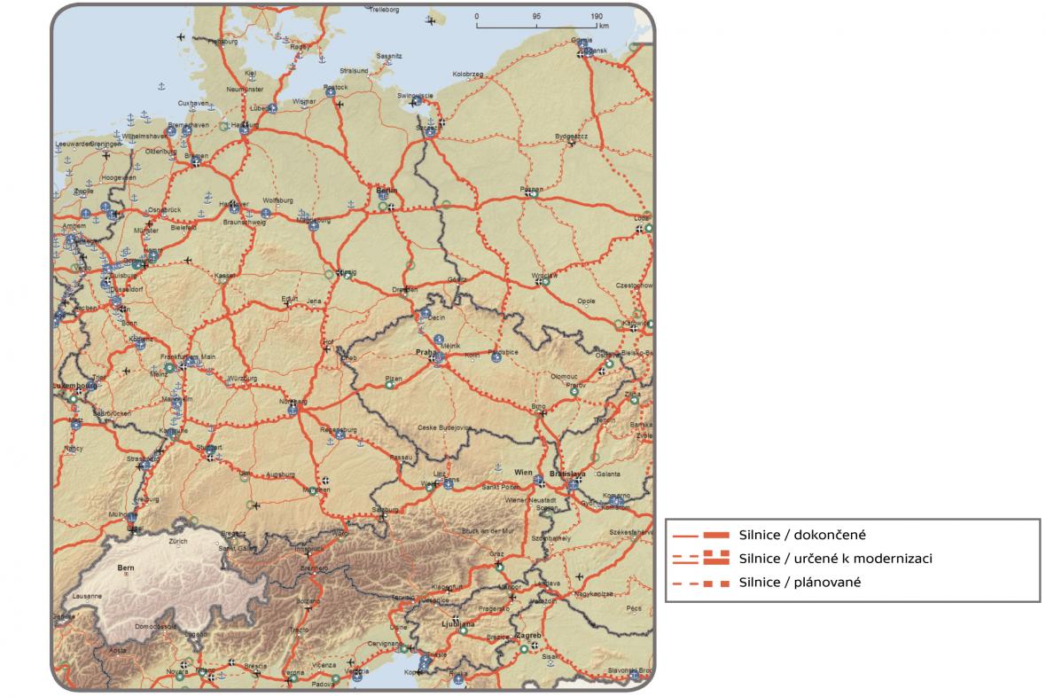 Silnice, přístavy, kombinované terminály železniční a silniční dopravy (RRT) a letiště