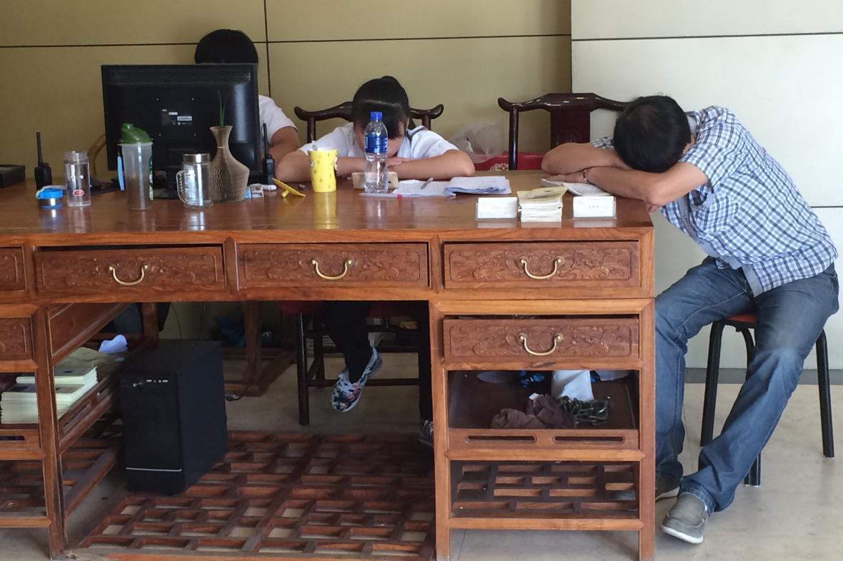Poněkud netypická situace na recepci čínské firmy