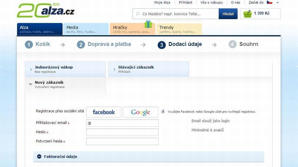 Přihlášení do e-shopu Alza.cz
