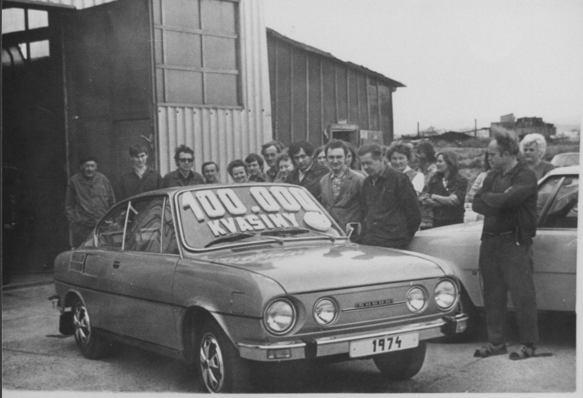 Škoda 110 R Coupé. 100 000. vůz z Kvasin