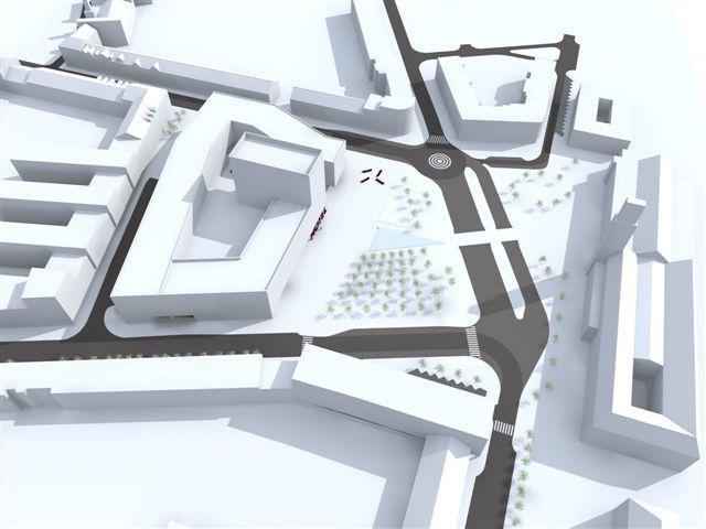 Vizualizace náměstí a komplexu budov - nadhled