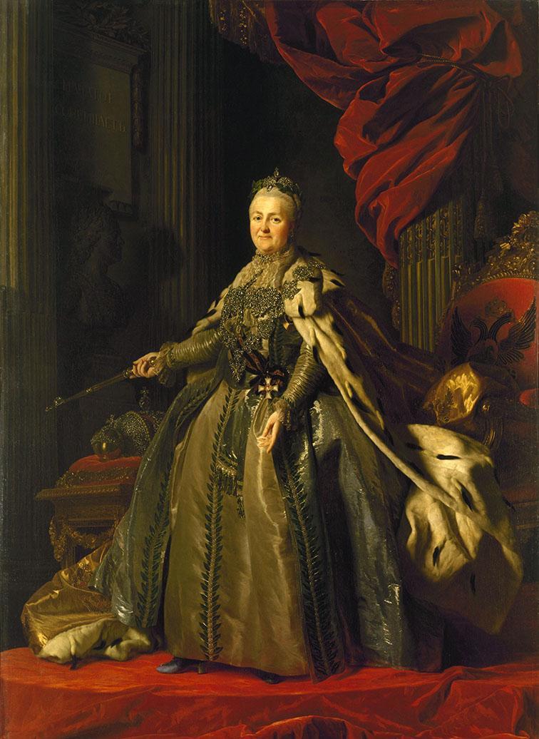 Kateřina II. Veliká na portrétu od Alexandra Roslina, 1776