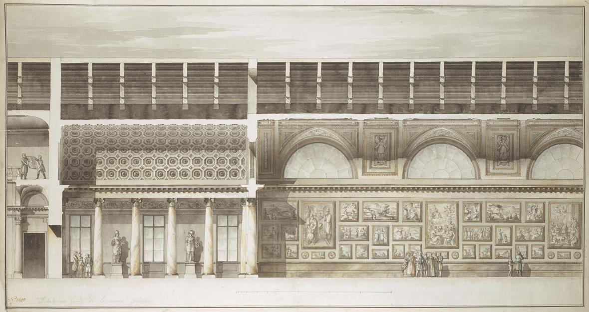 Návrh výstavních prostor Ermitáže od architekta Giacoma Quarenghia, 1804