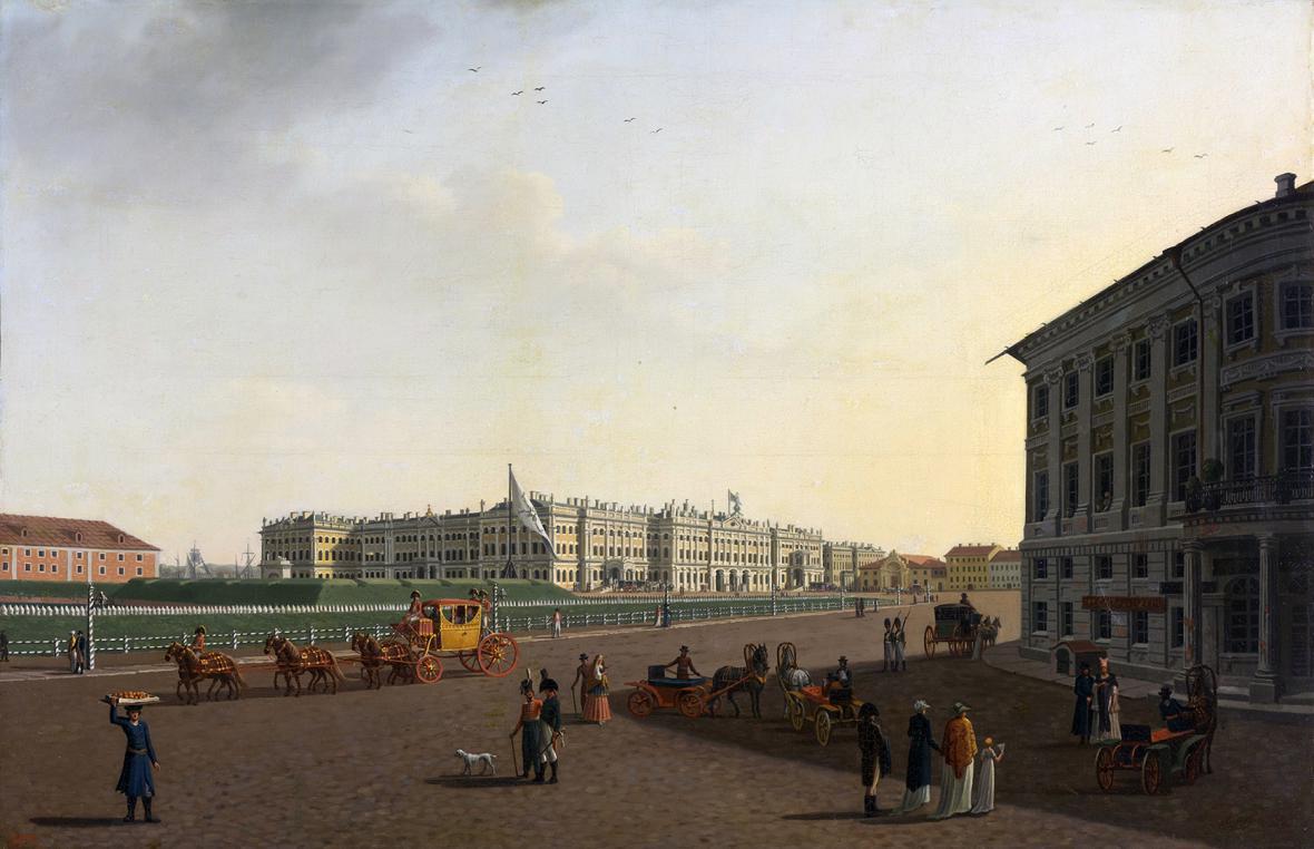 Pohled na palácové náměstí z Něvské třídy v Petrohradu na malbě Benjamina Paterssena, 1800