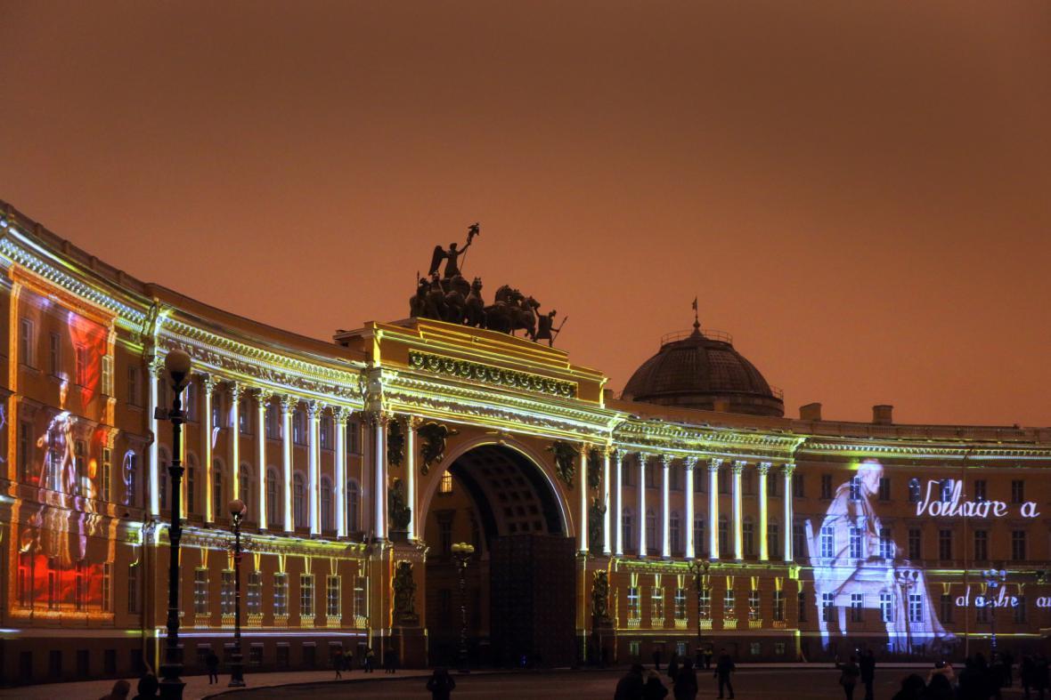 Videomapping na budově Ermitáže k 250. výročí existence