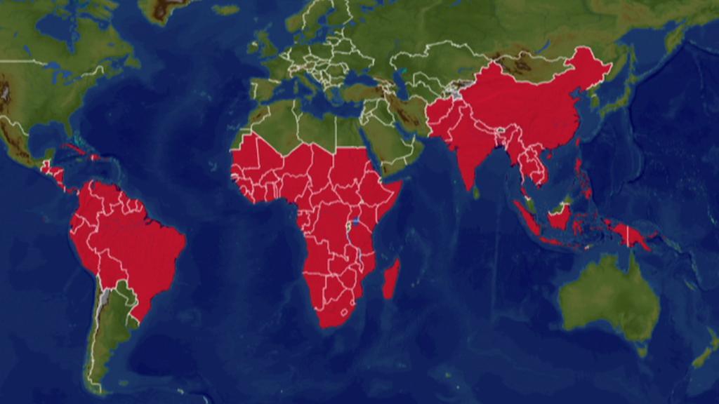 Mapa oblastí s nebezpečím výskytu malárie
