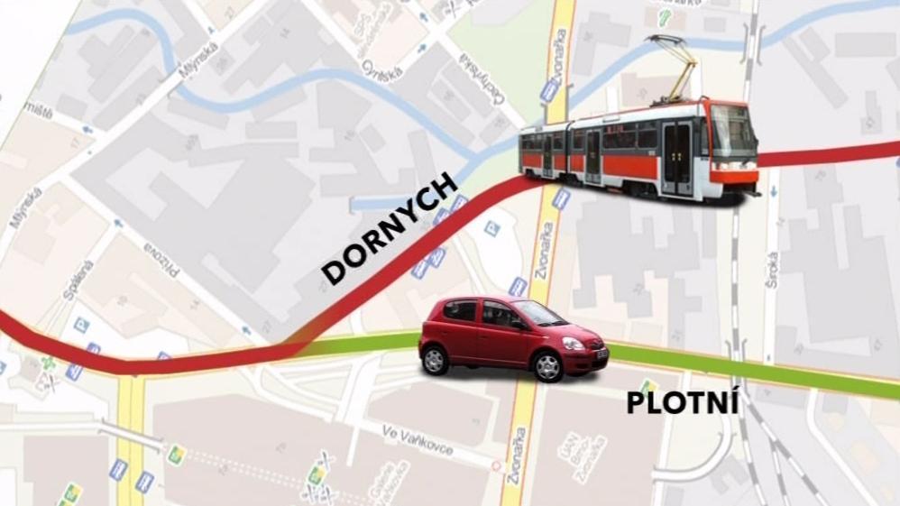 Situace na ulicích Plotní a Dornych nyní
