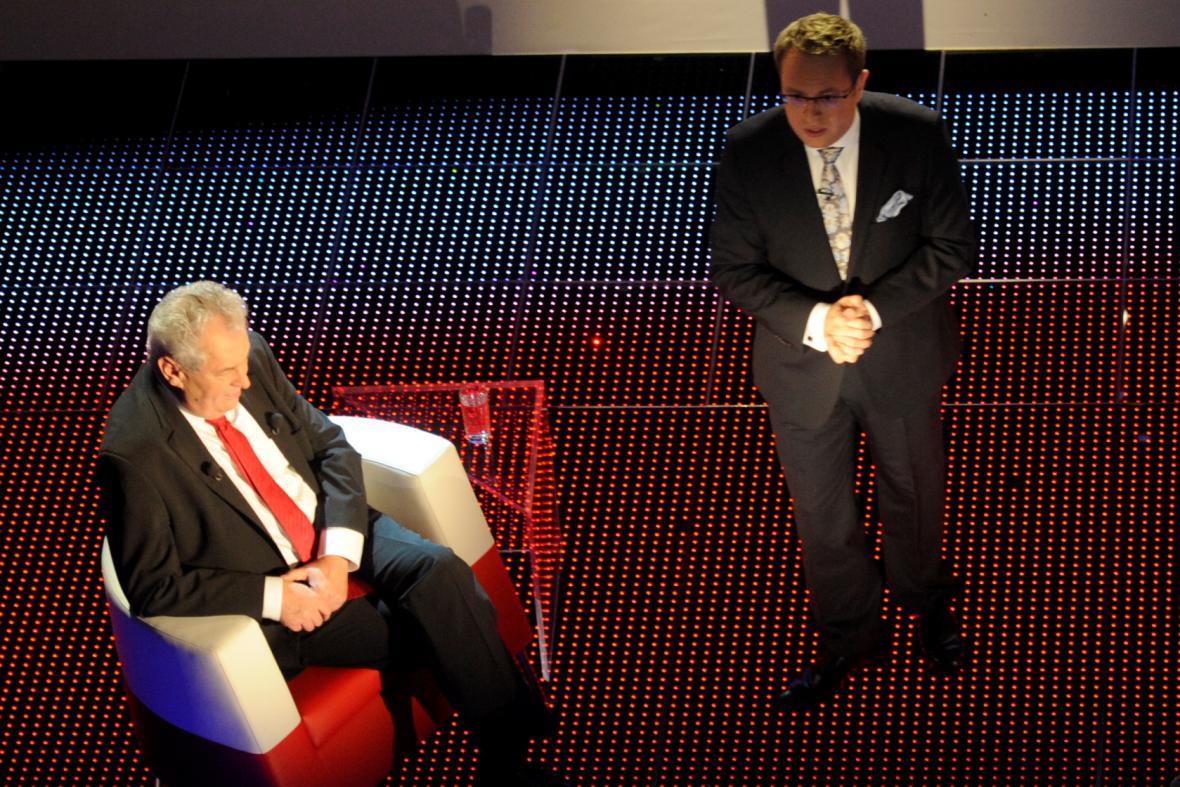 Miloš Zeman v prezidentské debatě u Václava Moravce