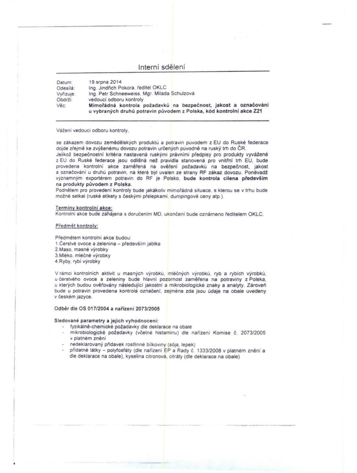 První strana údajného nařízení SZPI