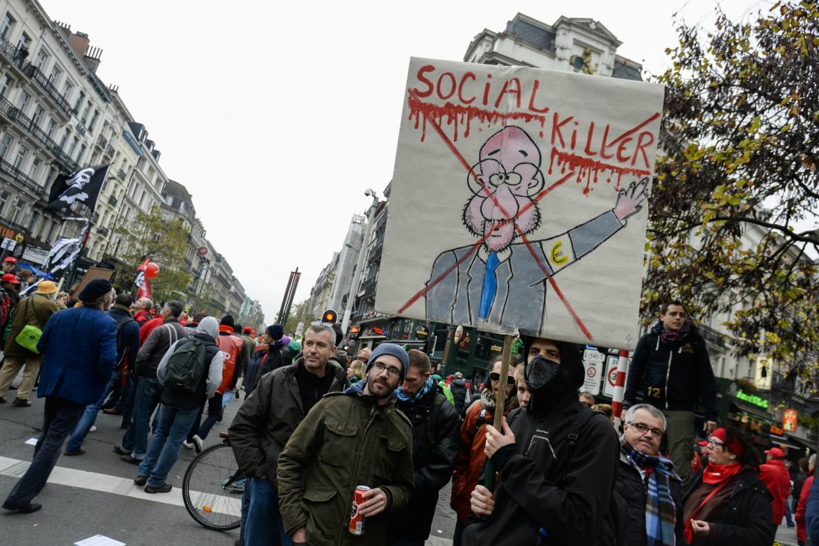 Demonstrace proti reformám v Belgii