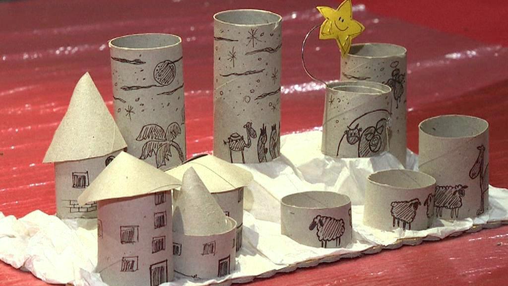 Betlém z ruliček od toaletního papíru