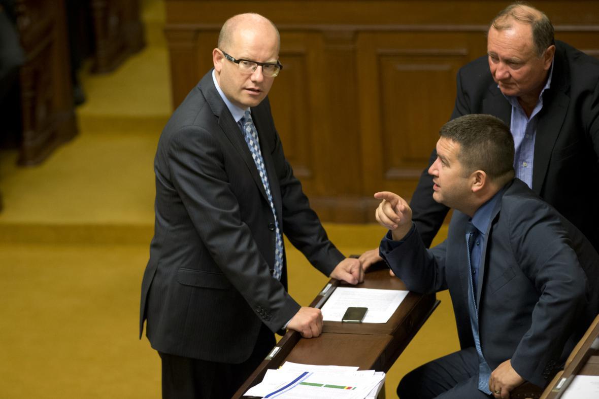 Bohuslav Sobotka a Vítězslav Jandák ve sněmovně