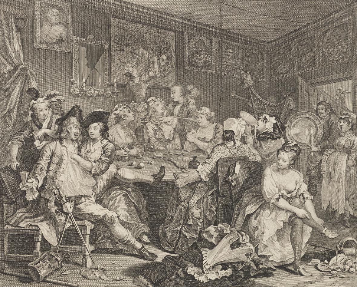 William Hogarth / A Rake's Progress (Vzestup zpustlíka) III, 1735