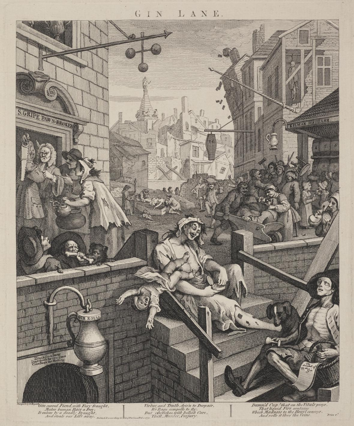 William Hogarth / Gin Lane (Ulička ginu), 1751