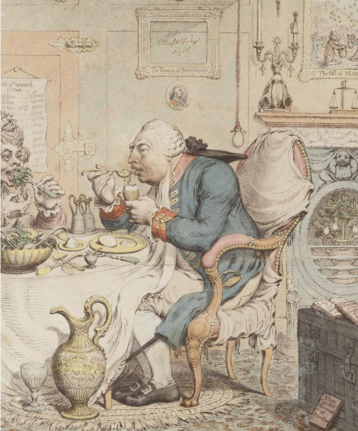 James Gillray / Temperance enjoying a frugal meal (Střídmost vychutnává skromnou krmi), 1792