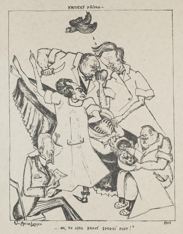 Emil Artur Pittermann-Longen / Kritický případ, 1924, list z cyklu Za oponou