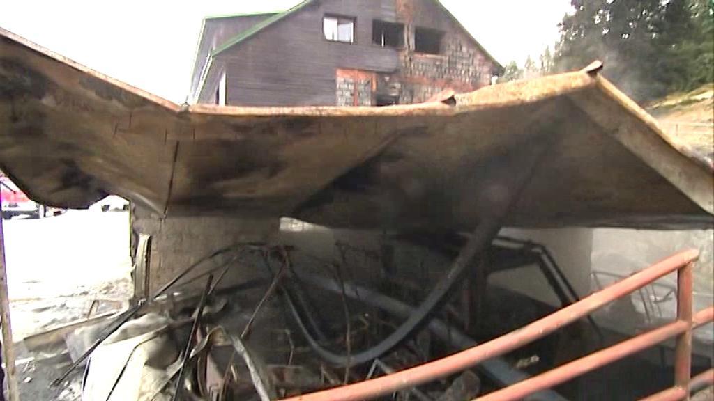 Požár horské chaty Barborka