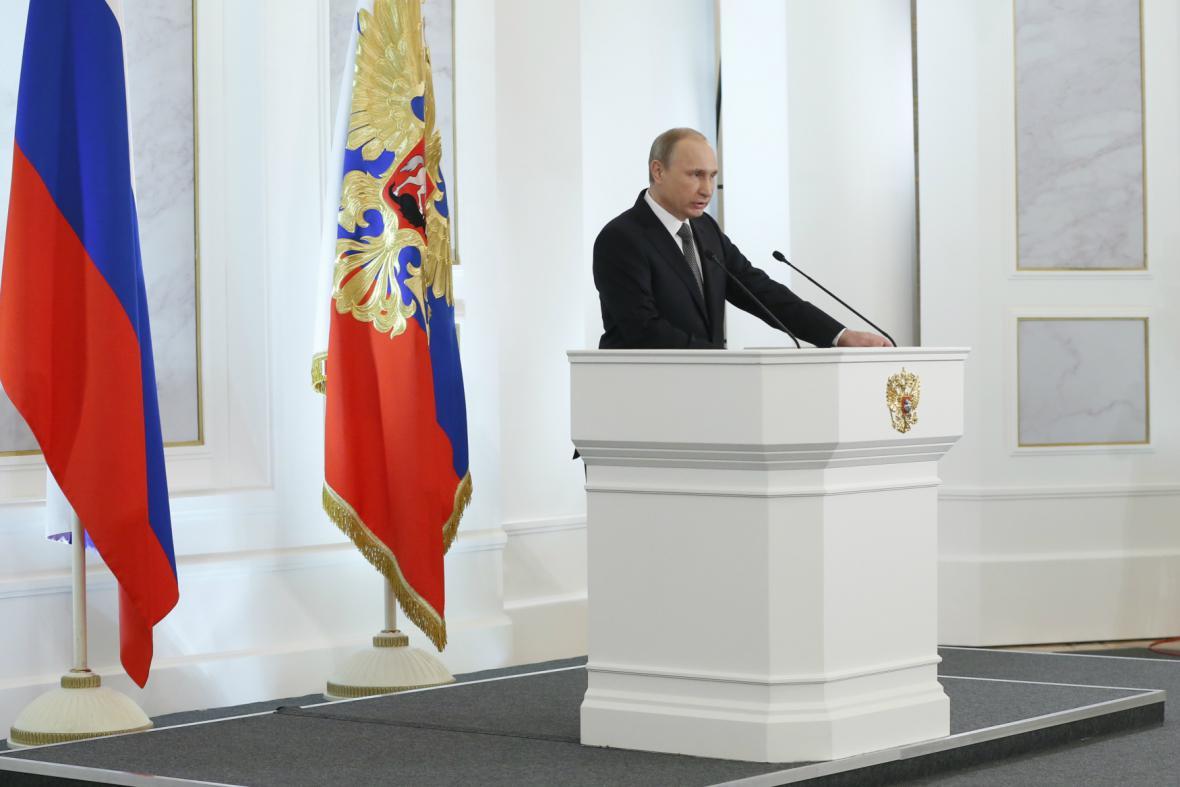 Vladimir Putin při projevu o stavu Ruské federace