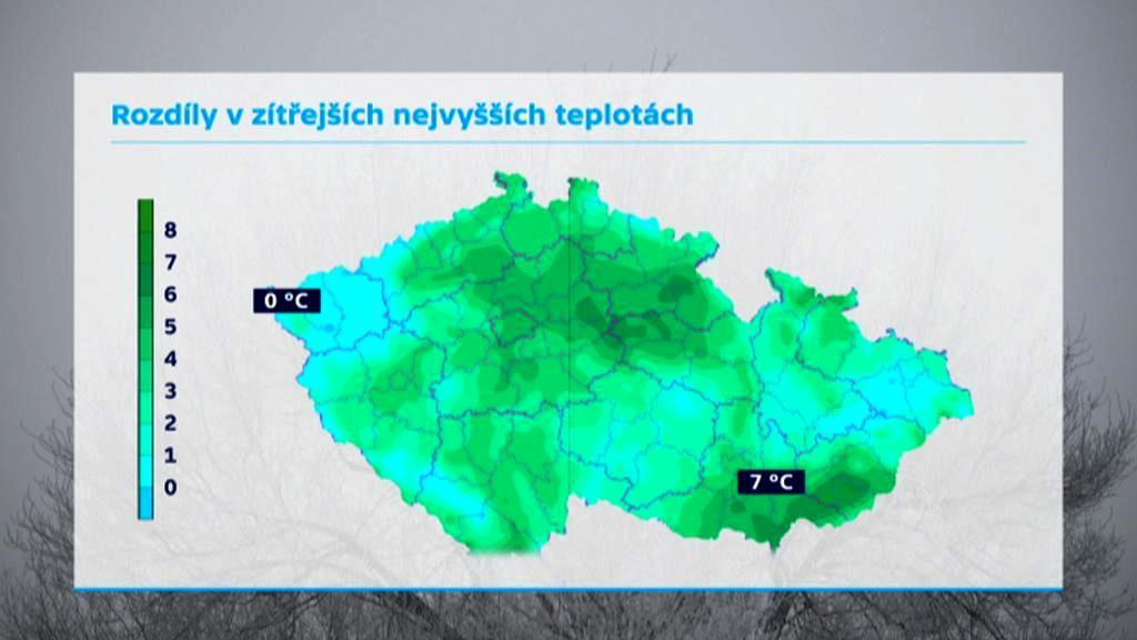 Zítřejší nejvyšší teploty