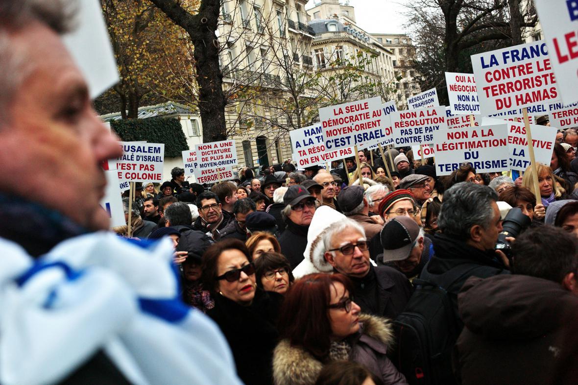 Demonstrace francouzských Židů proti uznání Palestiny