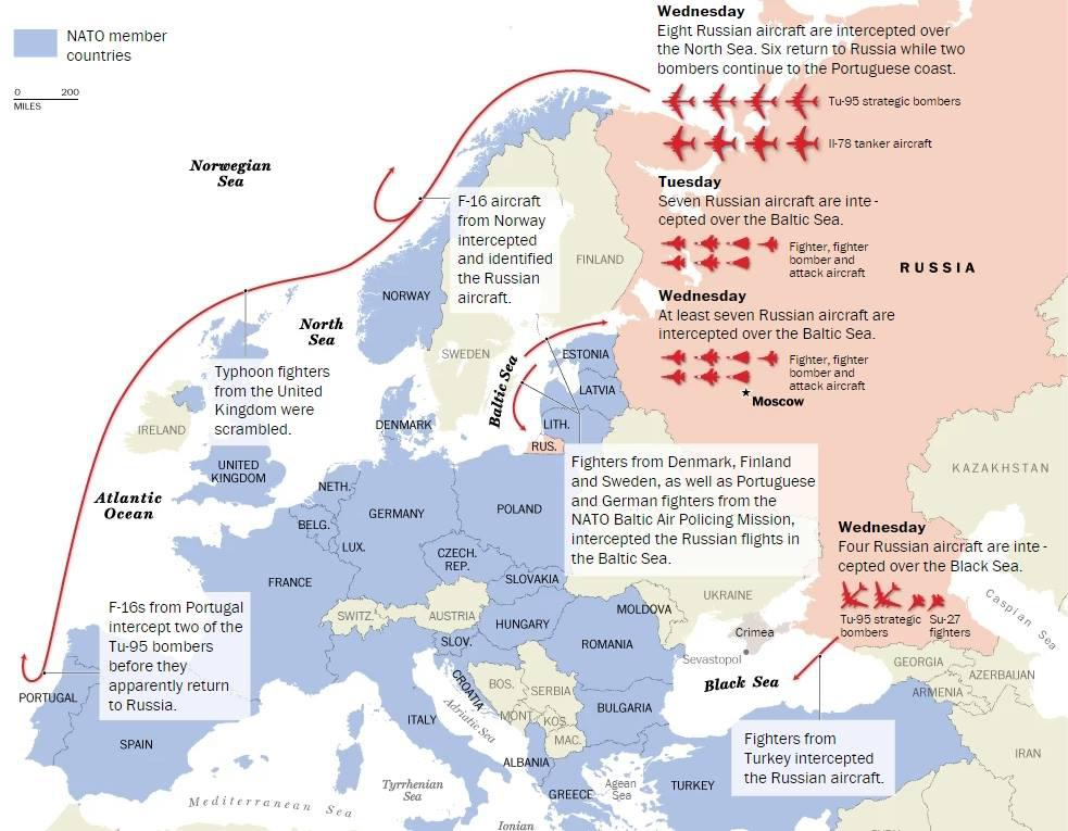 Přehled zachycených ruských letadel v evropském vzdušném prostoru