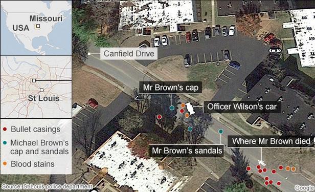 Místo činu ve Fergusonu
