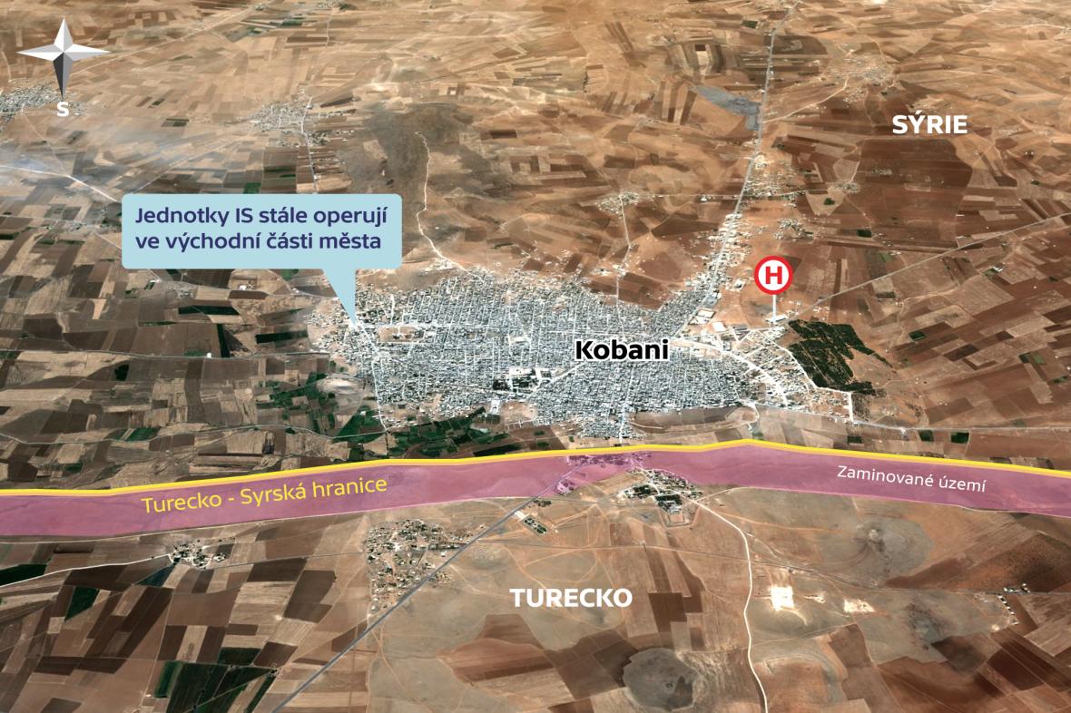Situace ve městě Kobani